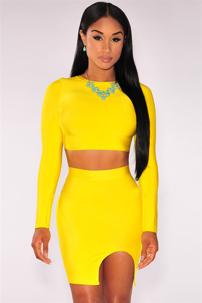 Sexy Yellow Open Back Long Sleeves 2 Piece Bandage Set LC28360 New Arrival Wholesale Cheaper ...
