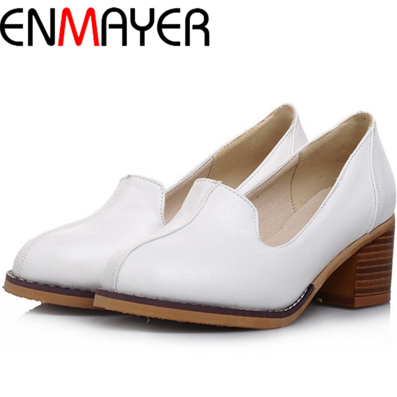 ENMAYER Cow Muscle Round Toe Square heel High Shoes women pumps big size 34-43 platform pumps Spring / Autumn sweet PU SHOES