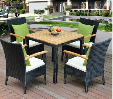Teng secluded balcony outdoor furniture rattan furniture wood tea table Five-piece casual cafe tables and chairs combination YZT(China (Mainland))