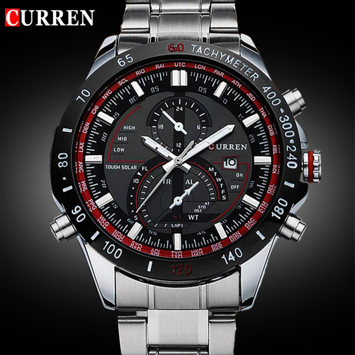 2015 CURREN 8149 Luxury brand sports Watch men Quartz Watches Auto Date Dress wristwatch military watches man full steel watch<br><br>Aliexpress