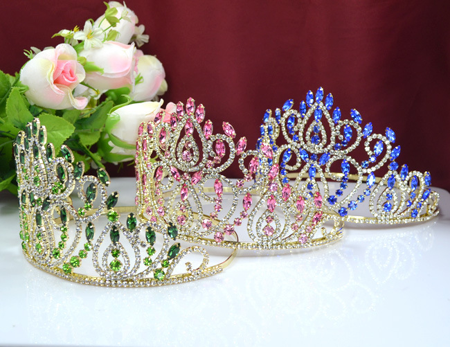 2015 New Beauty Pageant Crown Romantic Wedding Fashion Bride Crown Multicolor Crystal Tiara Factory Outlets 7Z-XN083(China (Mainland))