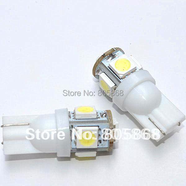 100 X T10 194 168 W5W led 12V 5050 5SMD t10 5 LED Light Bulb Clearance Light Parking Light auto led light Indicator Reading Lamp