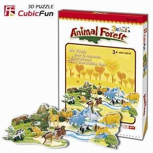 Original music of cubic 3D toy gift three-dimensional jigsaw puzzle paper model animal forest C012h free shipping 71pcs(China (Mainland))