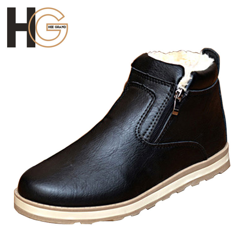 Men Boots Comfortable Winter Warm Waterproof Quality Ankle Boots Casual Men PU Leather Snow Boots Winter Shoes Size 39-44 XMX425