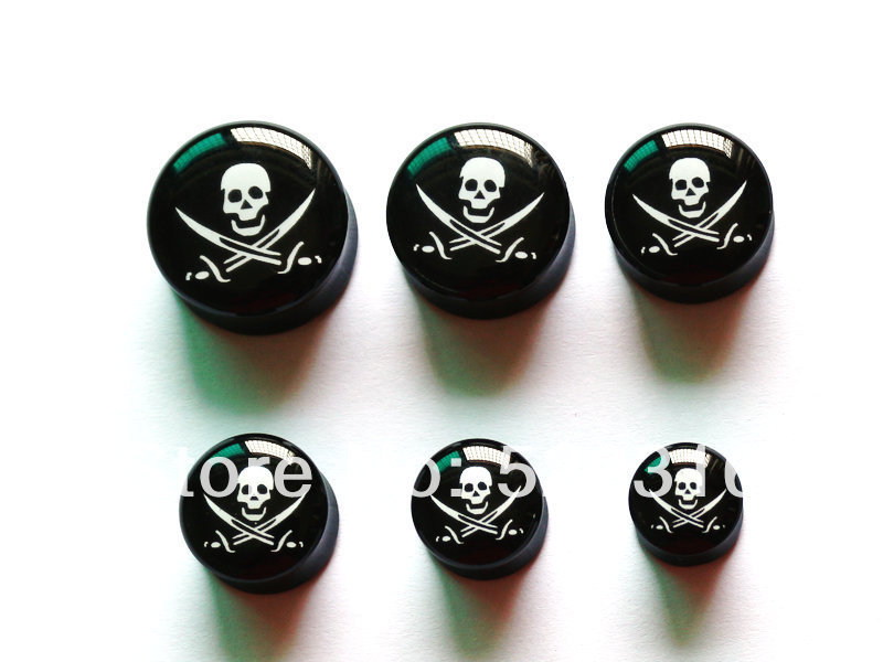 DHL free shipping piercing black acrylicear plugs 10mm 12mm 14mm 16mm 18mm 20mm skull logo picture saddle double flare ear gauge<br><br>Aliexpress