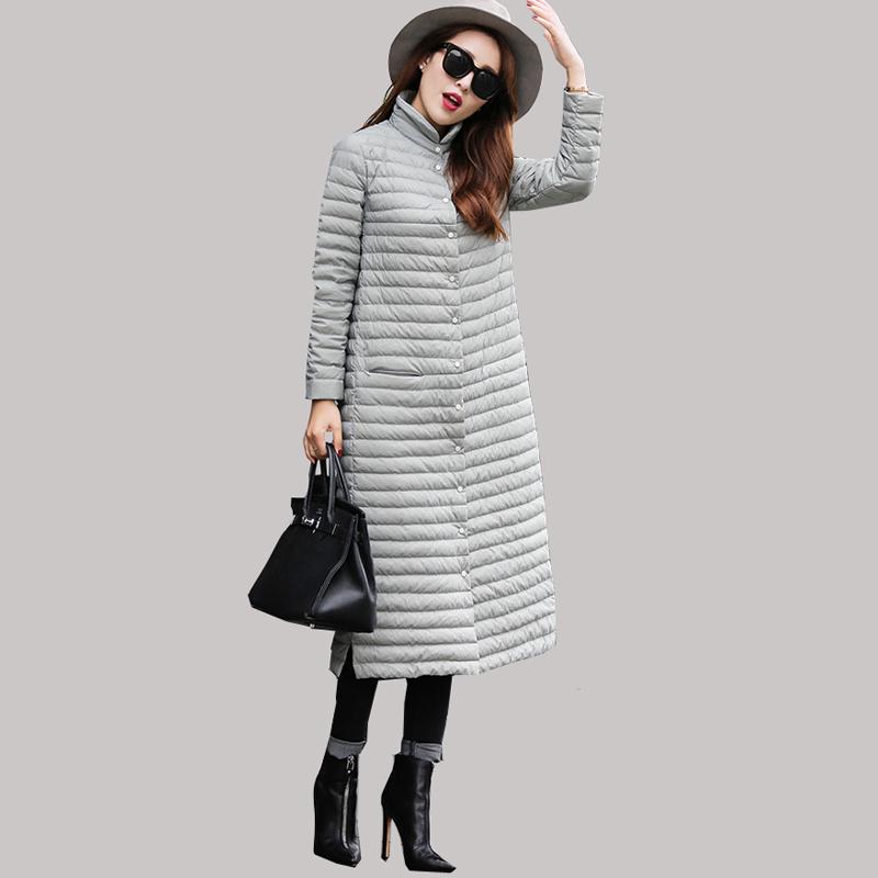 2016 High Qualtiy European Large Size Long Brand Light Thin Duck Down Jacket Women Winter Over Knee Length Warm Parkas JA007Одежда и ак�е��уары<br><br><br>Aliexpress