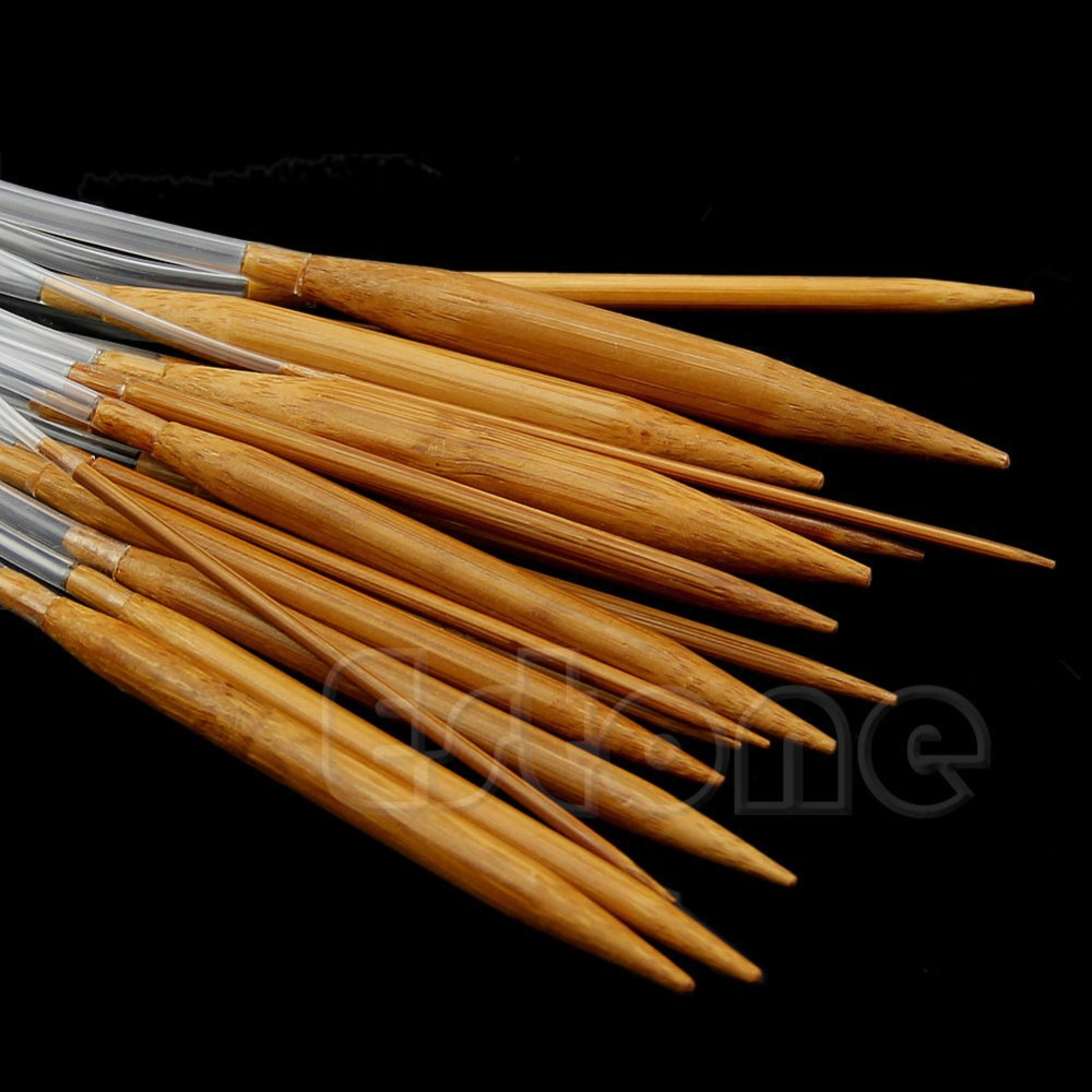 9  inch Carbonized Circular Bamboo Knitting Needles size US 6-10 small short