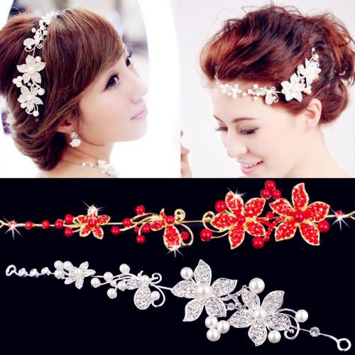 1 Woman Rhinestone Bride Bridal Wedding Flower Pearls Headband Hair Clip Comb Jewelry Red White(China (Mainland))