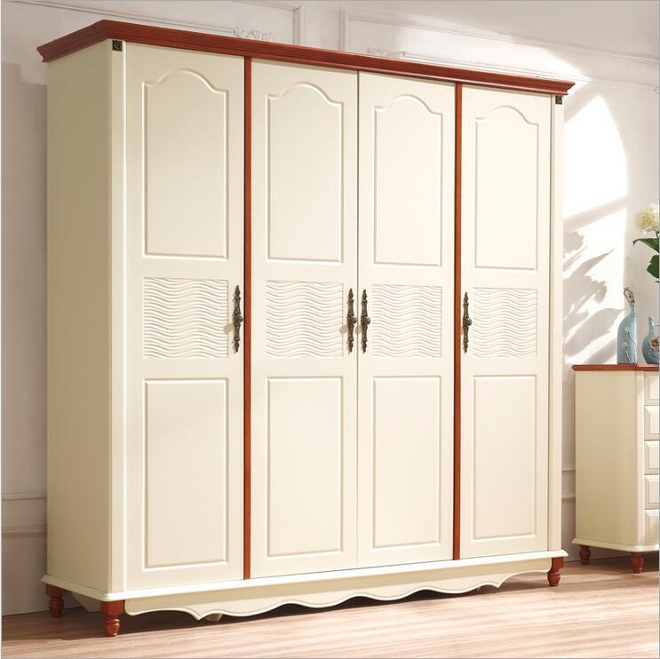 American country style wood wardrobe closet bedroom furniture four doors large storage closet p10255(China (Mainland))