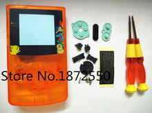 Clear Orange Color For GBC Gameboy Color Housing Shell With Game Poke.mon Limited Edition Plastic Screen Lens(China (Mainland))