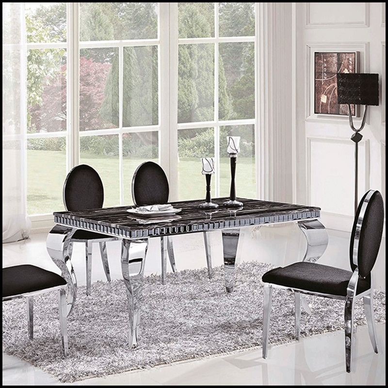 American Stainless Steel Dining Table Marble Top dining table metal material base furniture(China (Mainland))