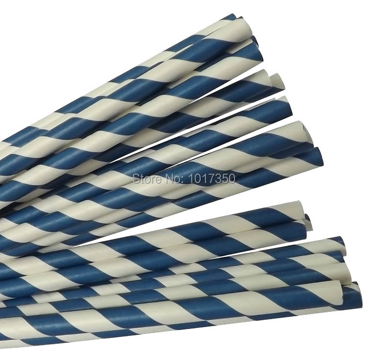 Navy Blue Striped Drinking Straws Blue Striped Paper Straws