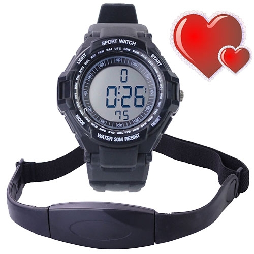 Heart rate table Chest Strap Heart Rate Calories Digital Sports Watch with LCD Monitor Exercise Memory Mode Stopwatch(China (Mainland))