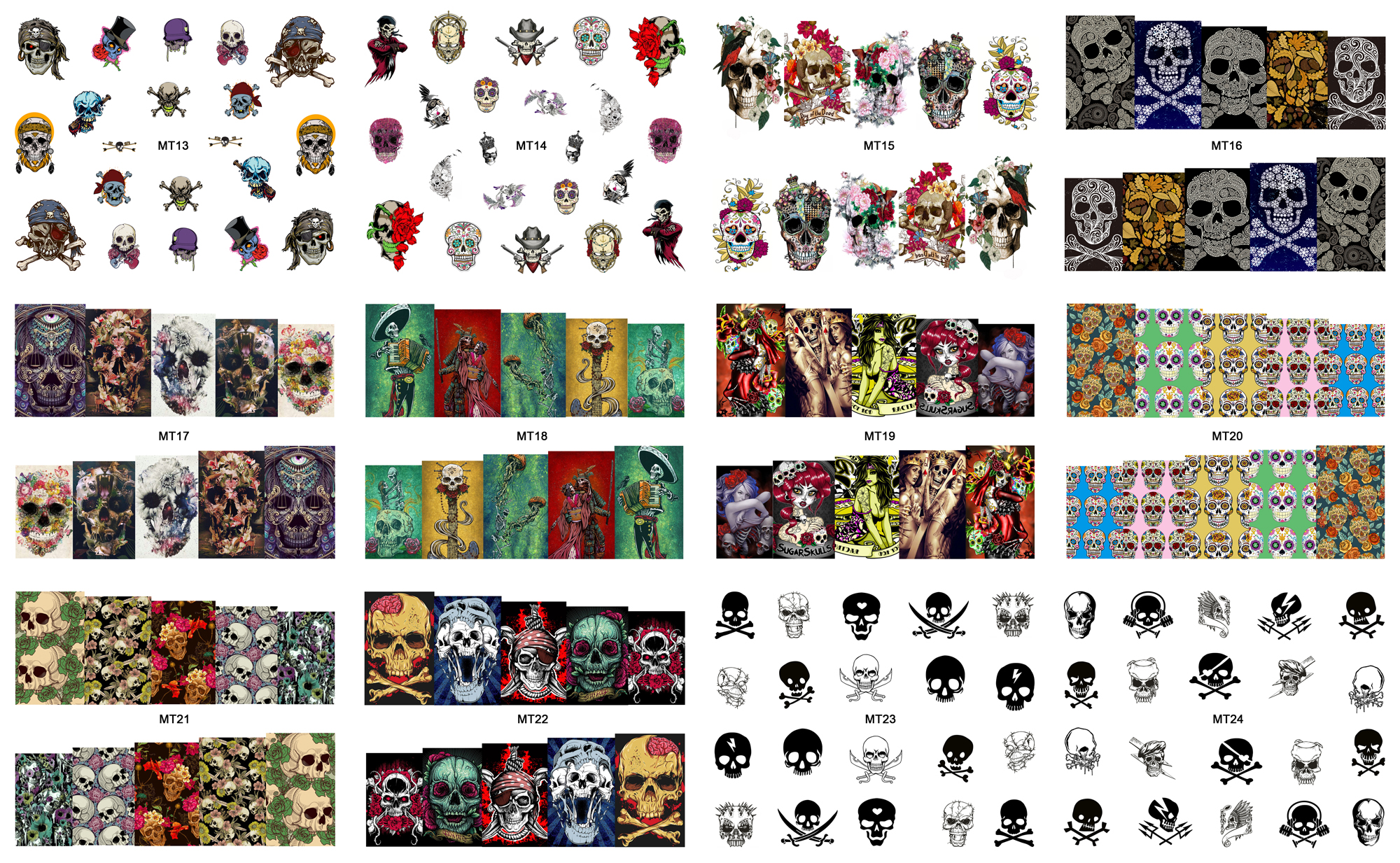 New 12 Sheets/Lot Nail MT13-24 Mix Skull Fashion Nail Art Water Transfer Decal Sticker For Nail Art Tattoo (12 DESIGNS IN 1)(China (Mainland))