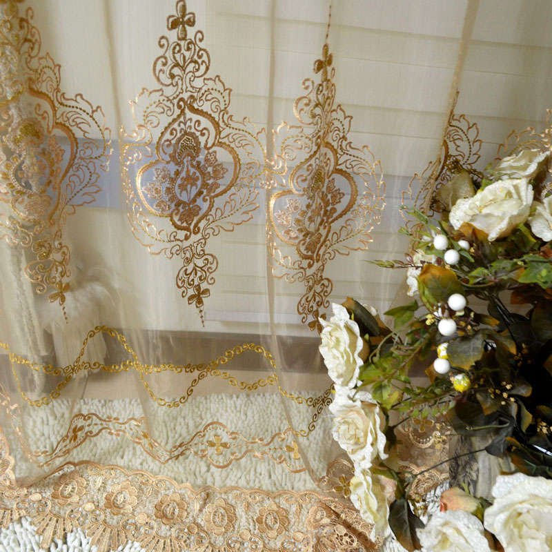 screening curtain yarn high quality circled embroidered sheer curtains