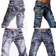 2016 New Arrival Hot Sale Jeansian Collection Mens Famous Design Jeans Denim Top Pants Fashion Pant Clubwear W30 32 34 36 38 L32(China (Mainland))