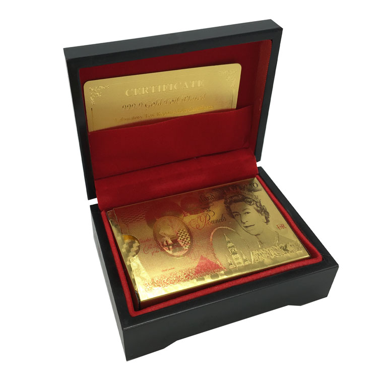 24 Karat Gold Foil Plated Game Poker Casino Playing Cards Full Color Printed UK 50 Pound Poker Special Gift For Friends(China (Mainland))