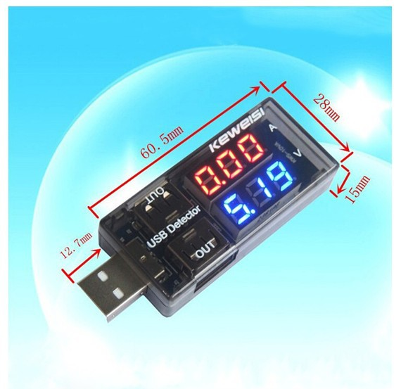 Double table show USB Charger Doctor Current Voltage Charging Detector Mobile Power Current and Voltmeter Ammeter double port(China (Mainland))