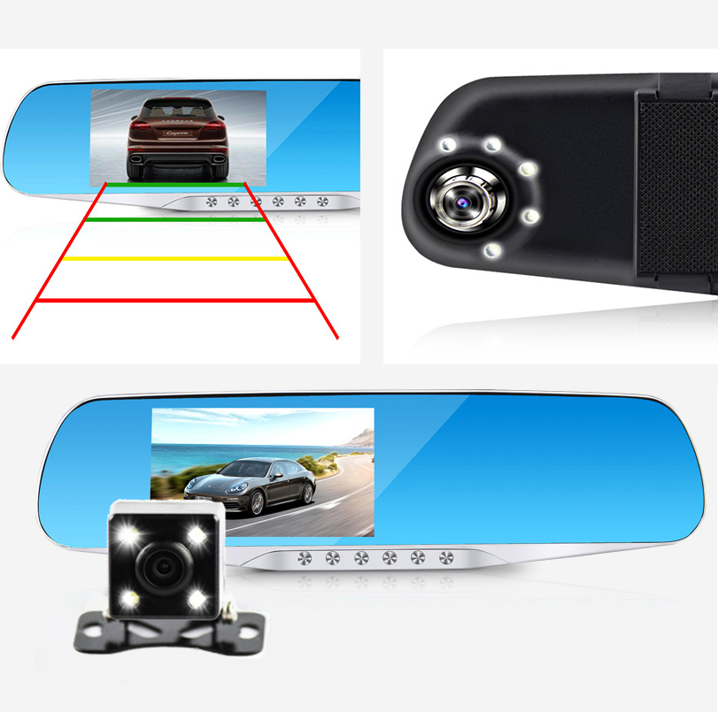 dual lens car camera rearview mirror auto dvrs cars dvr recorder video registrator full hd1080p night vision dash cam camcorder(China (Mainland))