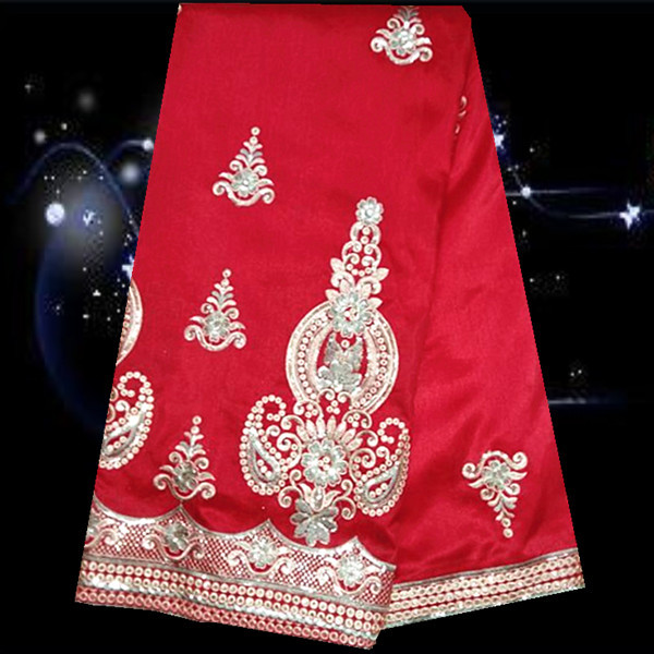 ZSL3-1 Red+Gold 2015 Newst Design African Wedding George Lace Fabric Good Looking Sequins French Satin George Lace Wholesale(China (Mainland))
