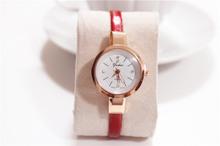 New arrival Women Ladies Candy Color Fashion Thin Leather Strap Quartz Bracelet Wrist Watch Vintage women