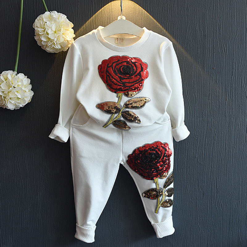 2Piece/0-7Years/Spring Autumn Baby Girls Boutique Clothing Fashion Korean Kids Clothes Rose T-shirt+Pants Baby Girls Sets BC1077(China (Mainland))