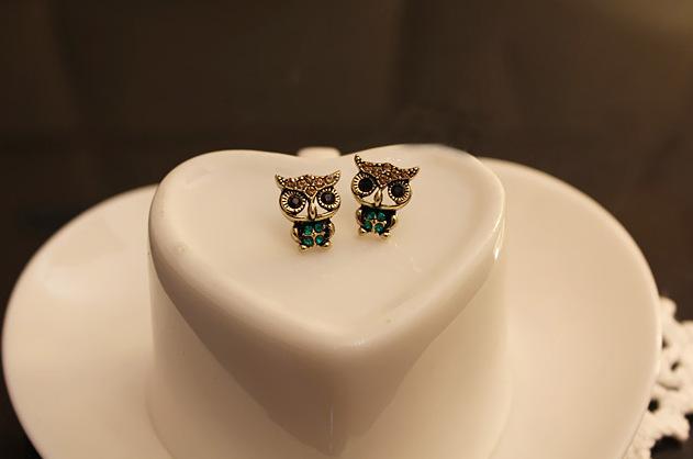 Vintage Stud Earrings Owl Jewelry New Fashion Rhinestone Accessories Charm Gifts Wholesale Cute Cartoon(China (Mainland))