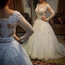 Unique Rhinestone Sashes Beading A-Line Wedding Dresses Elegant White Long Sleeve Appliques Lace Long Bridal Dress For Weddings(China (Mainland))