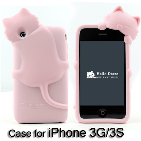 DER Diffie cat series top quality silicon case for iphone 3g,cute mobilephone case for apple 3s