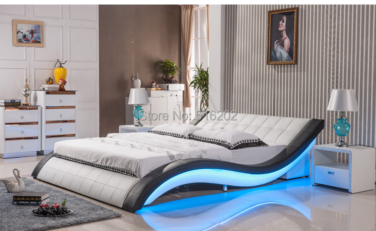 C305 Led light leather soft bed large king size comfortable bedroom furniture soft bed(China (Mainland))