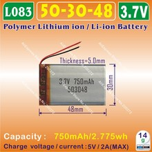 2pcs [L083] 3.7V,750mAH,[503048] PLIB / polymer lithium ion / Li-ion battery  for GPS,mp3,mp4,cell phone,speaker,DVR RECORDER(China (Mainland))