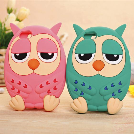 3D Cute Cartoon Owl Silicone Case Cover For iPhone 4 4s Soft Rubber Back Cover For iPhone4 Luxury Shockproof Case 2015 NEW(China (Mainland))