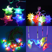 Jelly Star Heart Light Up LED Flashing Necklace Pendants Gift Rave Party Wedding Children's DayGift(China (Mainland))