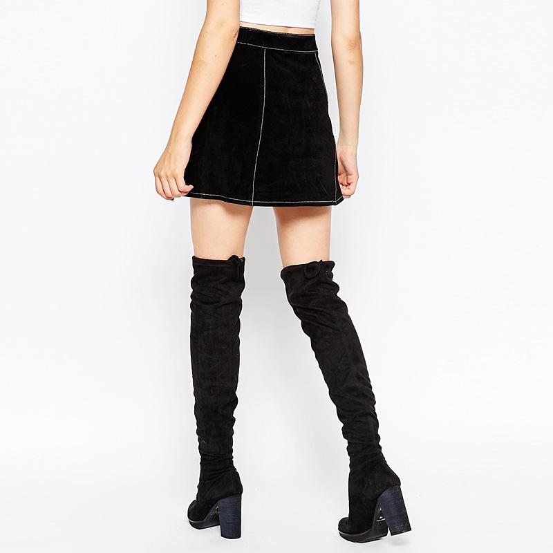 Vintage único breasted A – linha de camurça saias para mulheres plus size curto cintura alta saias para senhoras inverno flared saias femme
