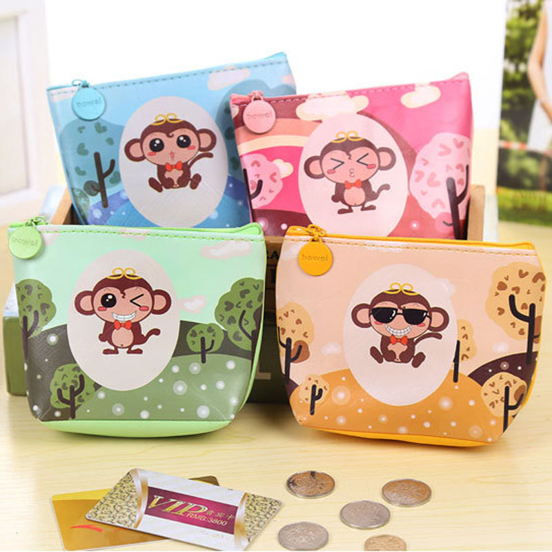 Home Storage Organization coin storage bag Fashion Sweet Cartoon monkey Handbag Zipper leather money wallets for women organizer(China (Mainland))