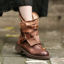 Discount Autumn Women Casual Boots Genuine Leather Fashion Women Motorcycle Boots with Buckle Color In Brown or Coffee(China (Mainland))