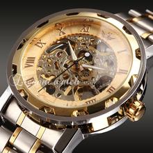 Top marca moda hombres Causl deportes para hombre de acero lleno Skeleton mecánicos mano de viento reloj del reloj
