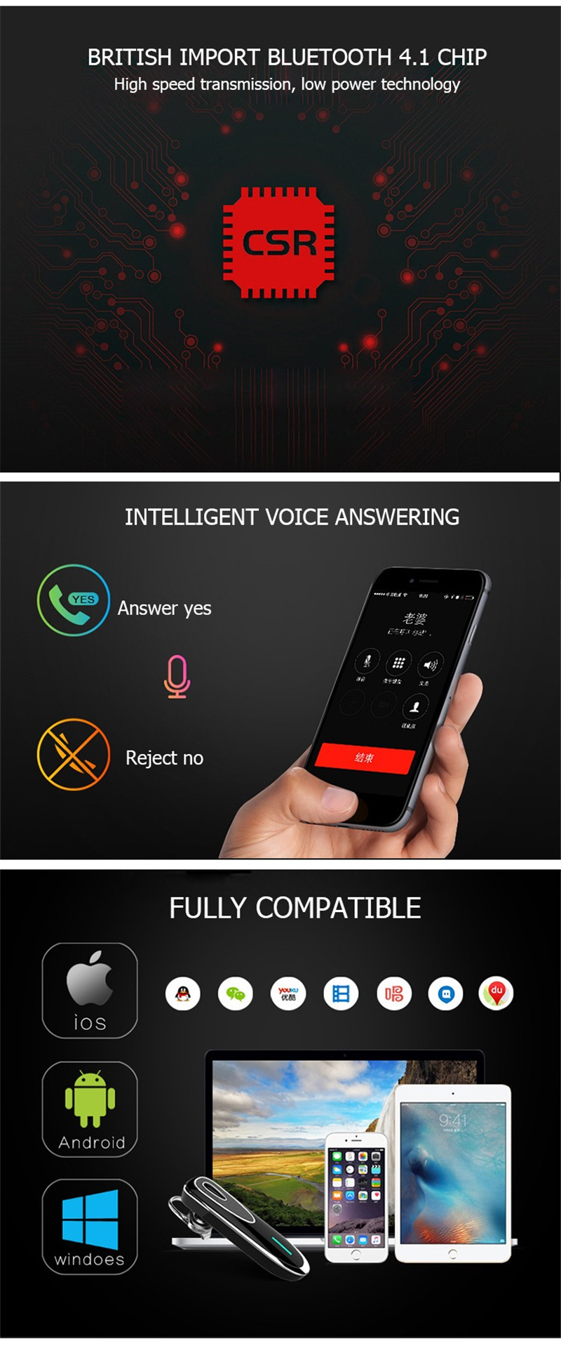New Bluetooth Earphone 4.1 Voice Control Long Standby K1 Stereo Wireless Bluetooth Earphones In -Ear with Microphone Portable