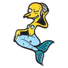 QIHE QH-GIOIELLI Simp-La Famiglia figlio Spilli Mr Burns Bart Simpson Marge Simpson Risvolto Spille Vintage TV Show 90S gioielli(China)