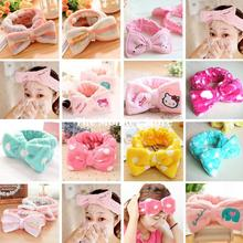 2015 New Coral Velvet Big Bow Headbands Makeup and Beauty Wash Face Hairbands F1175(China (Mainland))