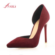 2015 New Two-Piece Pointed Toe Suede Red Bottom High Heels Fashion Sexy High Heel Shoes Women Pumps wedding shoes Pumps 6 colors