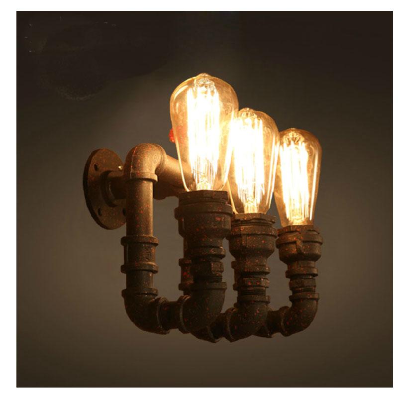 Здесь можно купить  Retro Iron Industrial Water Pipe Vintage Loft Black Wall Lamp Sconce Creative Lounge Beside Lamps E27 Edison Home Light Fixture  Свет и освещение