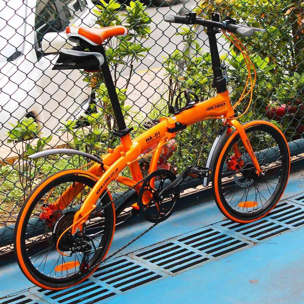 HACHIKO 20 inch alloy disc folding bike road car SHIMANO7 folding bicycle aluminum frame fashion and cool(China (Mainland))