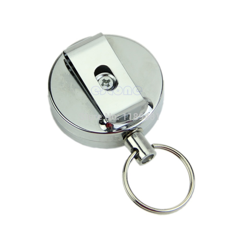 Free Shipping Hot Retractable Metal Card Badge Holder Steel Recoil Ring Belt Clip Key Chain(China (Mainland))