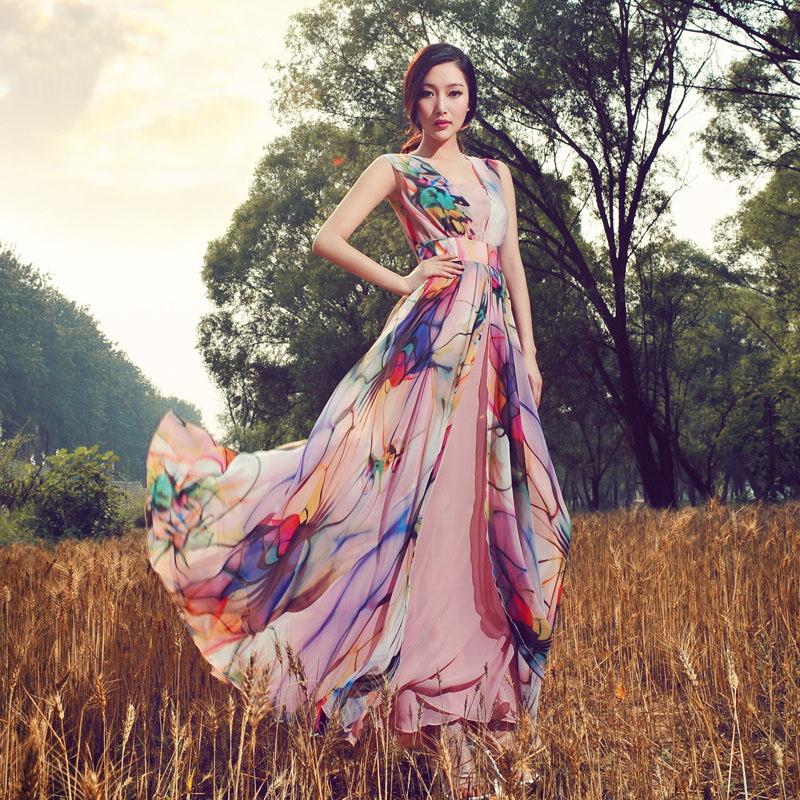 Top brand original design 2014 summer irregular big sweep chiffon full dress high quality elegant lady maxi long dress Одежда и ак�е��уары<br><br><br>Aliexpress