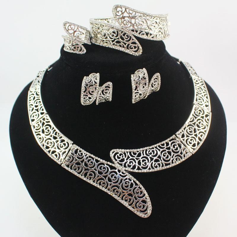 Мода Белый Позолоченный Женщины африканские бусы костюм свадебный свадьба Горный Хрусталь Дубай Ожерелье Ювелирные Наборы