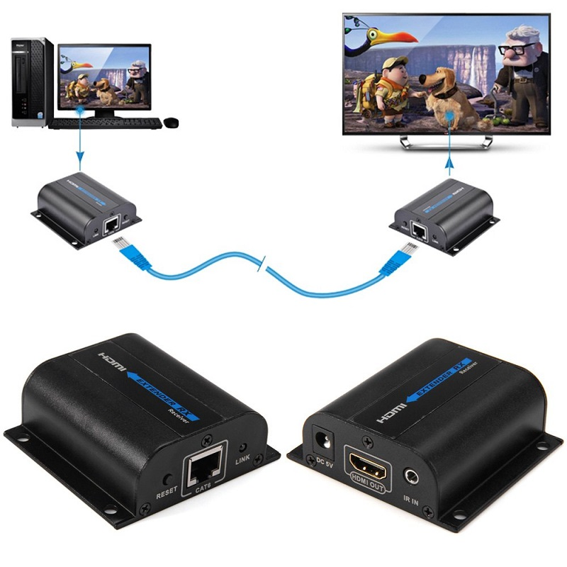 LKV372A HD 1080P HDMI Extender TX/RX 60M with IR over CAT6 RJ45 Ethernet Cable Support HDMI 3D for HDTV DVD Player(China (Mainland))