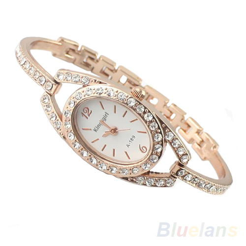 Fashion Minimalism Ladies Women Rhinestone Watch Golden Stainless Steel Wrist Watches Items 1I8A
