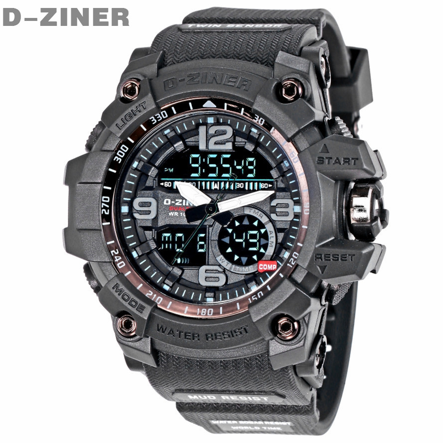 D-ZINER Fashion Watch Men Waterproof LED Sports Military Watch Shock Resistant Men's Quartz Digital Watch relogio masculino 8143(China (Mainland))