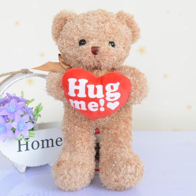 lovely hold love bear 38 cm plush toy hug me heart teddy bear doll ,Christmas gift dy67(China (Mainland))